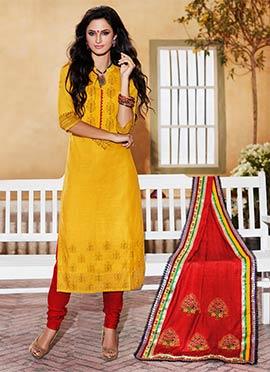 Honey Yellow Kora Silk Churidar Suit