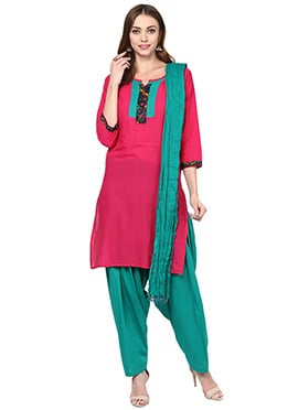 Hot Pink Cotton Patiala Suit