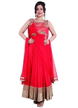 Hot Pink Embellished Anarkali Suit