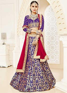 Purple Art Silk Foil Printed A Line Lehenga C