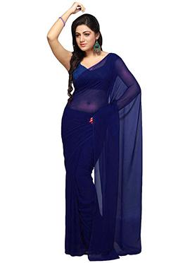 Indigo Blue Georgette Saree