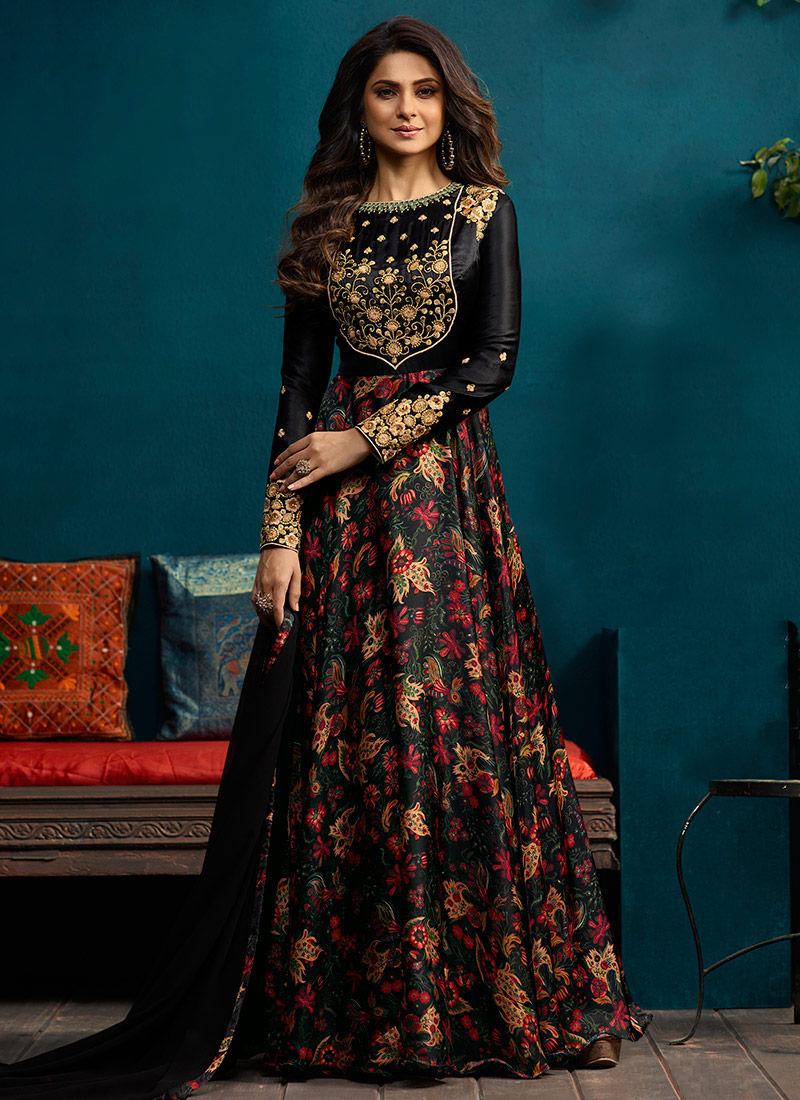 Buy Jennifer Winget Black Embroidered Anarkali Gown ...