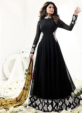 Jennifer Winget Black Georgette Anarkali suit