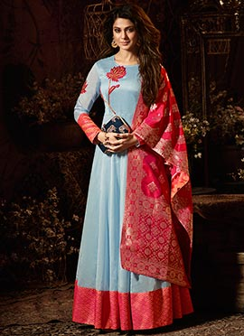 Jennifer Winget Blue Abaya Style Anarkali Suit