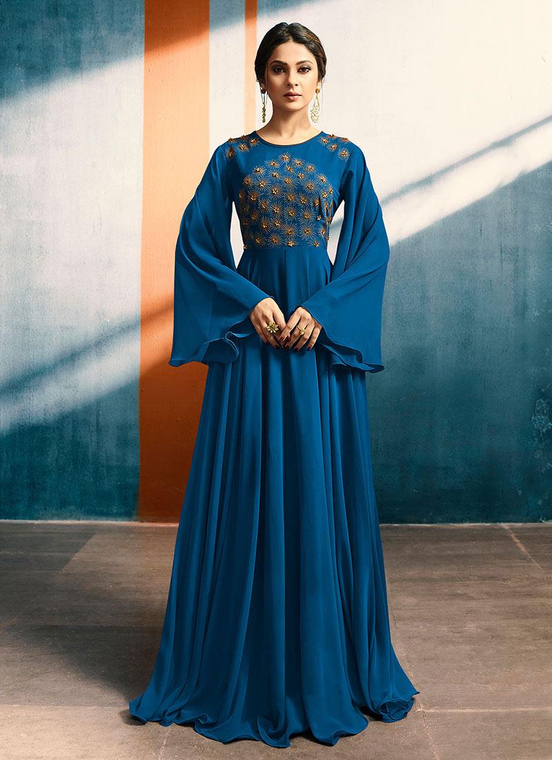 Buy Jennifer Winget Blue Embroidered Anarkali Gown, Embroidered ...