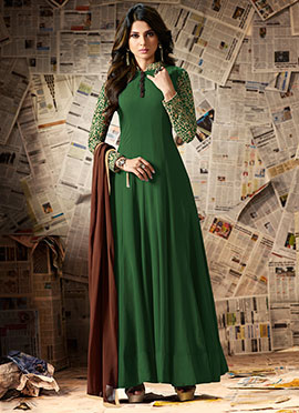 Jennifer Winget Green Georgette Anarkali Suit