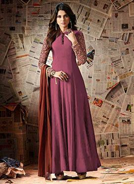 Jennifer Winget Purple Wine Georgette Anarkali Sui