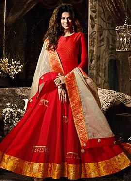 Jennifer Winget Red Abaya Style Anarkali Suit