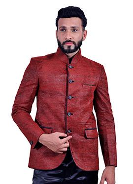 Jute Silk Maroon Bandhgala Jacket