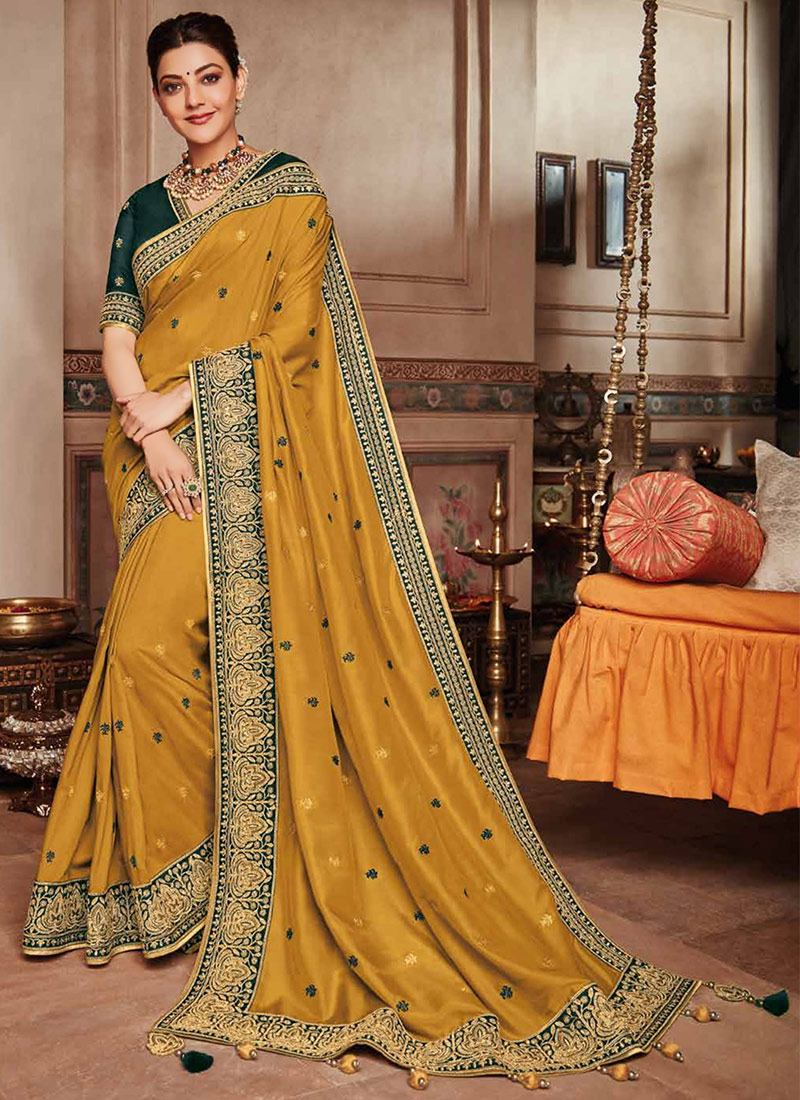 843a9ec71539c6 Buy Kajal Aggarwal Mustard Yellow Zari Woven Saree, Zari, sari ...