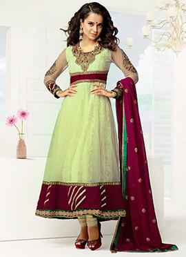 Kangana Ranaut Cream Net Anarkali Suit