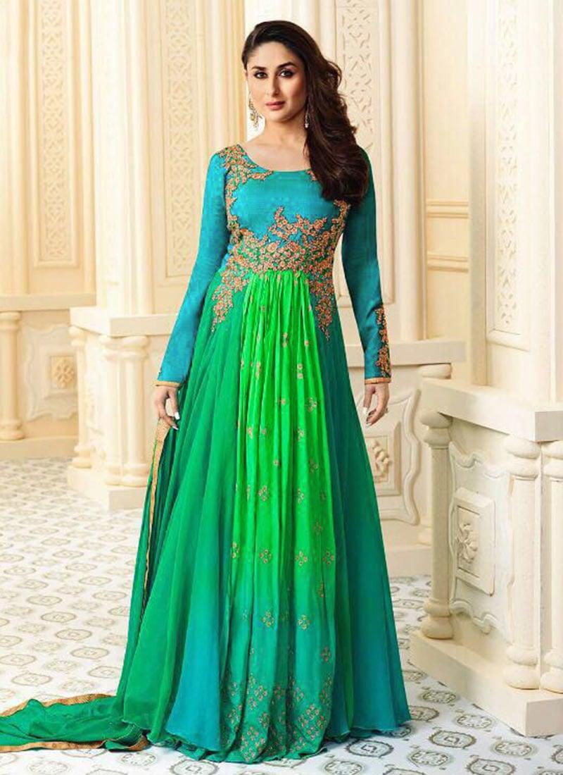 kareena Kapoor Latest, Anarkali churidar silk eid design ...  |Kareena In Green Anarkali Dress