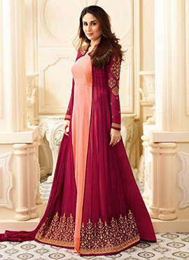 Kareena Kapoor Peach N Pink Anarkali Suit