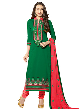 Karisma Kapoor Green Straight Suit