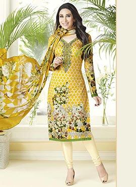 Karisma Kapoor Yellow Cotton Churidar Suit