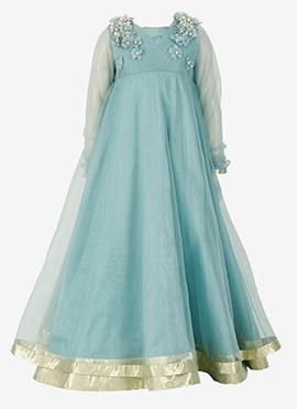 Kidology Dusky Blue Kids Anarkali Gown