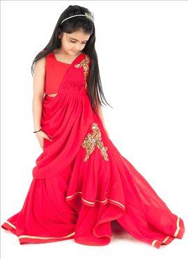Kidology Red Georgette Gown Lehenga Set