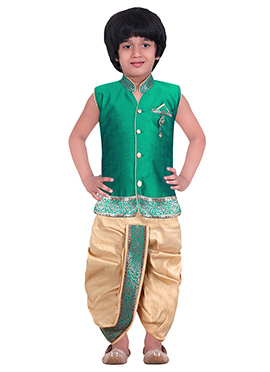 Kids Teal Green Dhoti Kurta Set