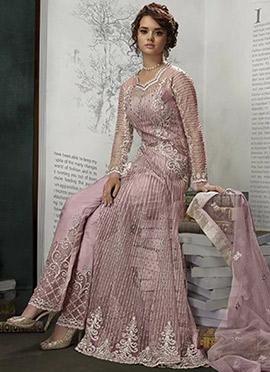 Lavender Net Anarkali Suit