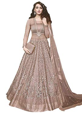 Light Biege Net Anarkali A Line Lehenga