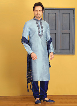 6eb4408ee74 Light Blue Embroidered Kurta Pyjama ...