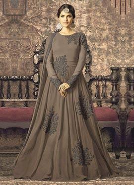 Light Brown Georgette Abaya Style Anarkali Suit