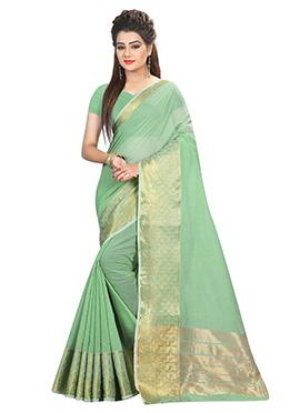 Light Green Art Silk Cotton Saree