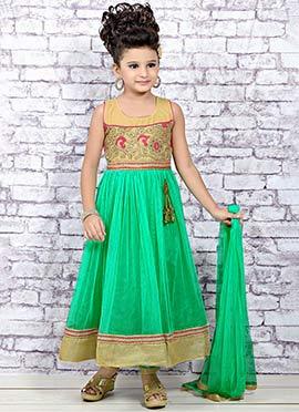 Light Green Net Kids Anarkali Suit