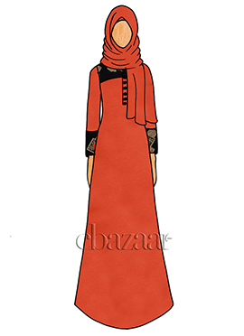 Light Orange Chiffon Abaya
