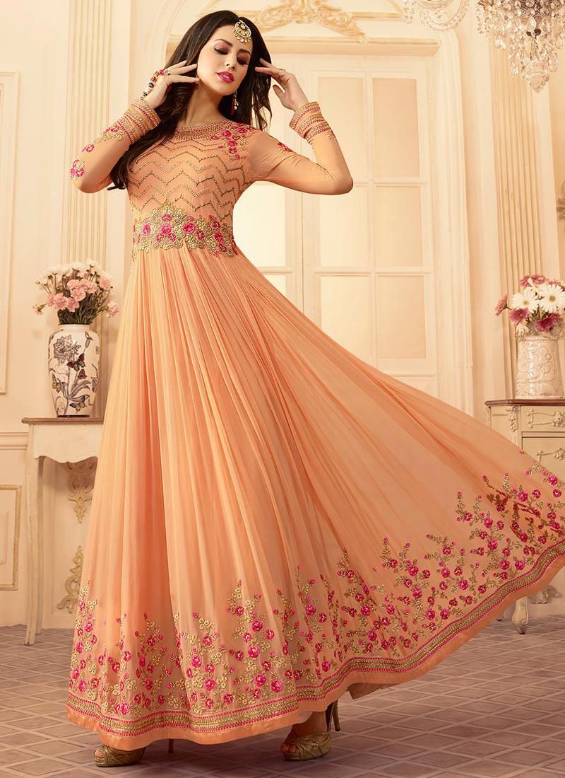 21f4bf1215 Buy Light Orange Georgette Abaya Style Anarkali Suit, Zari , Stones ...