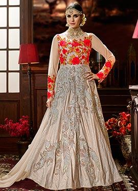 Light Peach Art Silk Anarkali Suit