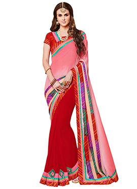 Light Pink N Red Bandhini Half N Half Saree