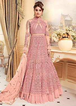 Light Pink Net Anarkali Style Umbrella Lehenga
