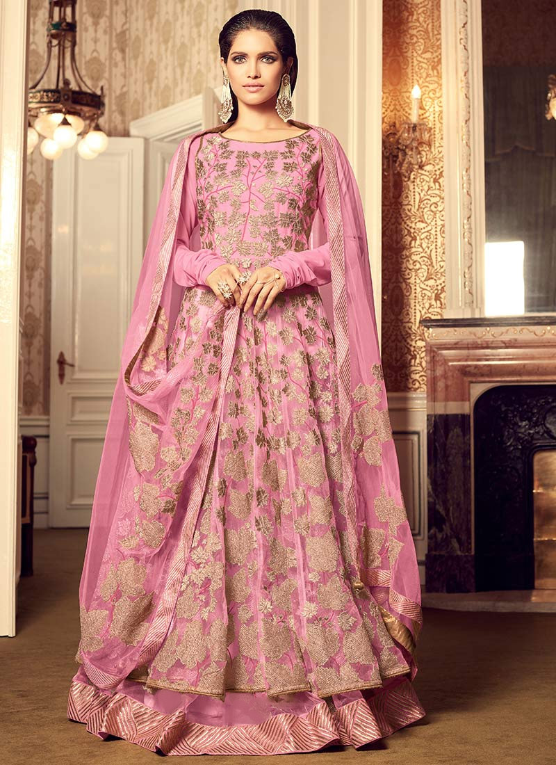 858cc0df71a Buy Light Pink Net Long Choli Umbrella Lehenga