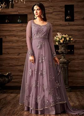 Light Violet Net Abaya Style Anarkali Suit