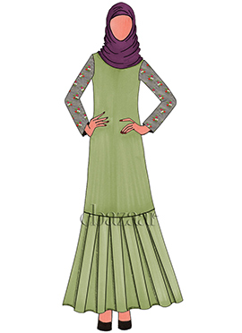 Light green Chanderi Cotton Fustan Suit