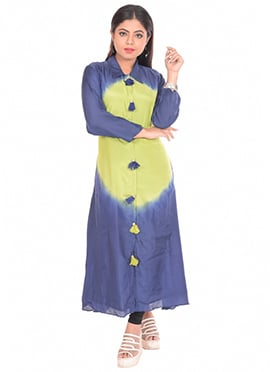Lime Green N Blue Art Silk Kurti