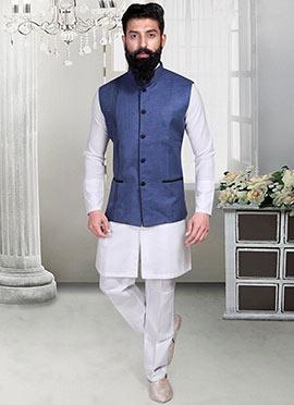 Linen Indigo Blue Nehru Jacket
