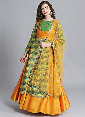 Long Embroidered Blouse N Lehenga Suit