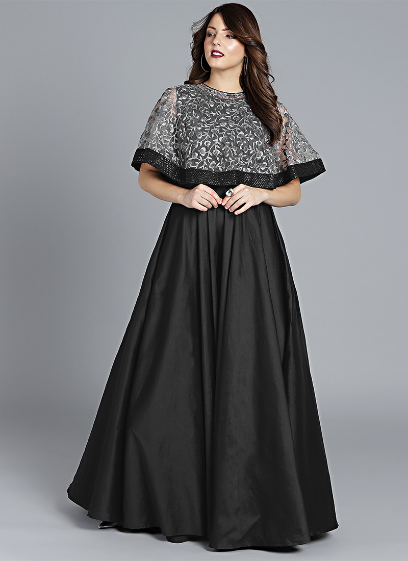 Buy Made To Measure Grey Embroidered Cape Style Gown