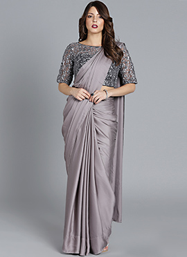 a72dfb539d2 Made To Measure Grey Embroidered Saree Set Free shipping