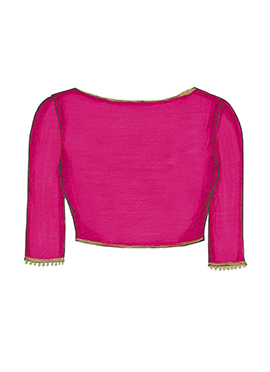 Magenta Art Dupion Silk Blouse
