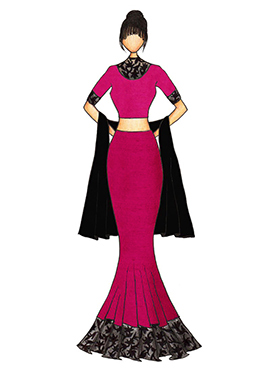 Magenta Art Dupion Silk Fish Cut Lehenga with a Bl