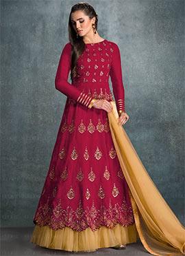 Magenta Banglori Silk Anarkali Suit