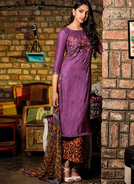 Magenta Blended Cotton Palazzo Suit