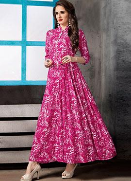 Magenta Printed Dress