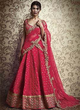 Pink Silk Umbrella Lehenga Choli