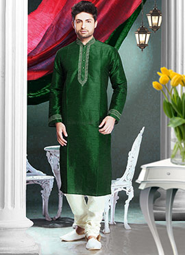 Dark Green Art Silk Kurta Pyjama