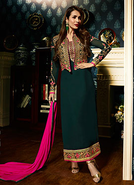 Malaika Arora Bottle Green Georgette Straight Suit