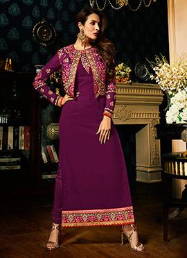 Malaika Arora Purple Georgette Straight Suit